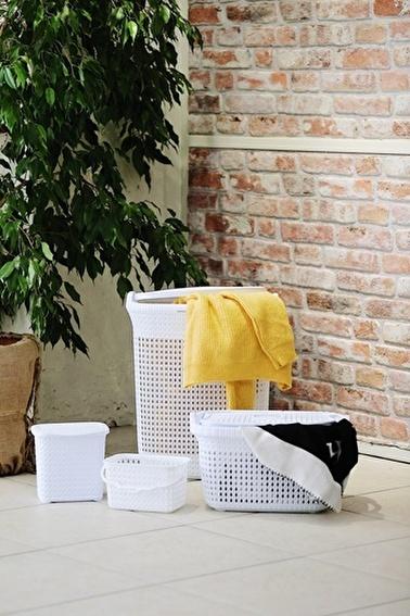 Arma House Örgü Desenli Beyaz 4'Lü Banyo Seti (Set 13) Beyaz